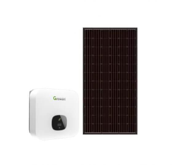Growatt 3,0 kWp Monokrystallin solcelleanlæg 17m2